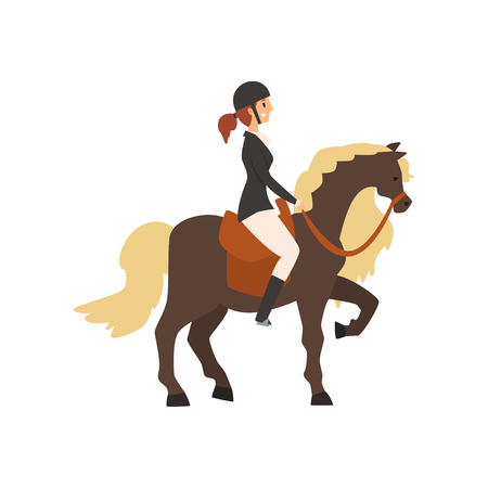 Young woman riding horse, equestrian professional sport vector Illustration on a white background