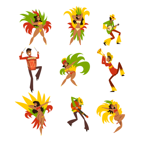 Happy people dancing and playing music, Brazil carnival, men and women in bright costumes vector Illustrations on a white background