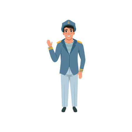 Cheerful navy captain waving hand. Naval officer in formal wear: blue jacket, pants, striped vest and peaked cap. Flat vector design