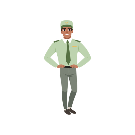Young man in formal military clothes: green shirt, tie, cap and gray pants. Officer of armed forces posing with arms akimbo. Flat vector design