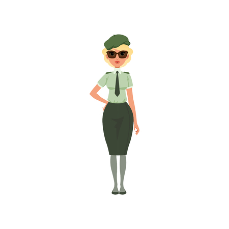Cartoon woman in formal military dress: green shirt, tie, skirt, beret and sunglasses. Young girl in army officer costume. Flat vector