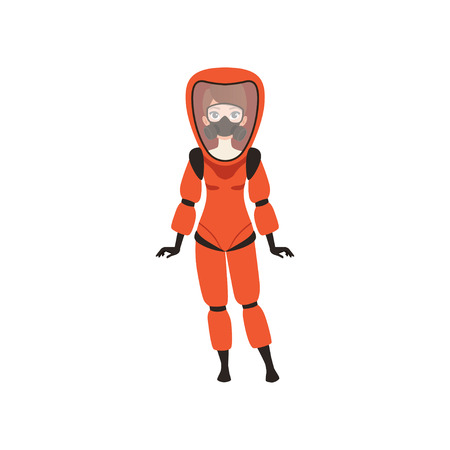 Woman in red protective costume and gas mask. Protection from radiation hazard. Flat vector illustration Illusztráció