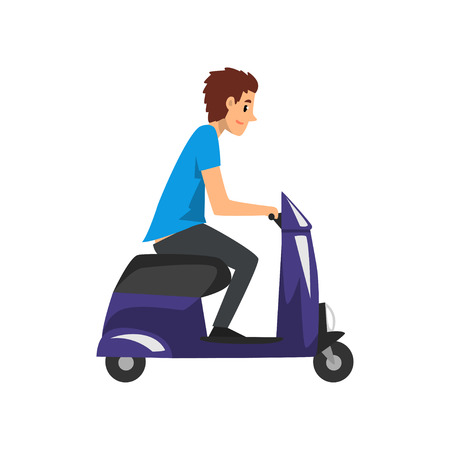Young man riding scooter vector Illustration on a white background 向量圖像