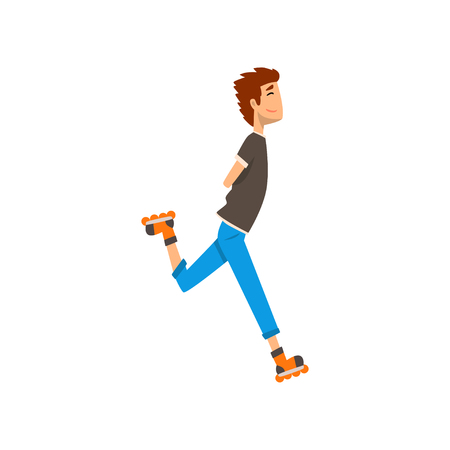 Young man enjoying roller skating, sport and physical activity concept cartoon vector Illustration on a white background