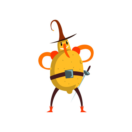 Brave lemon cartoon character, man in fruit costume vector Illustration isolated on a white background.