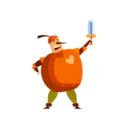 Warlike apple cartoon character with sword, man in fruit costume