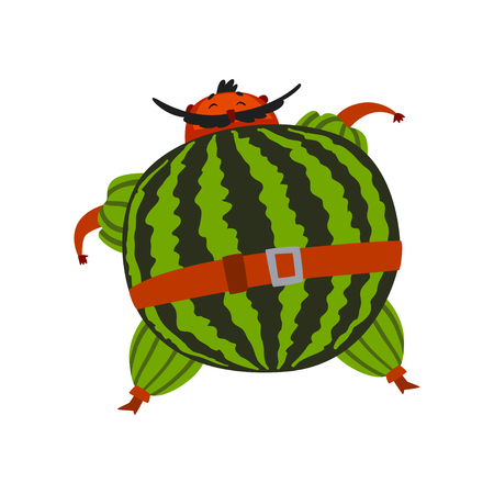 Funny brave watermelon cartoon character, man in fruit costume