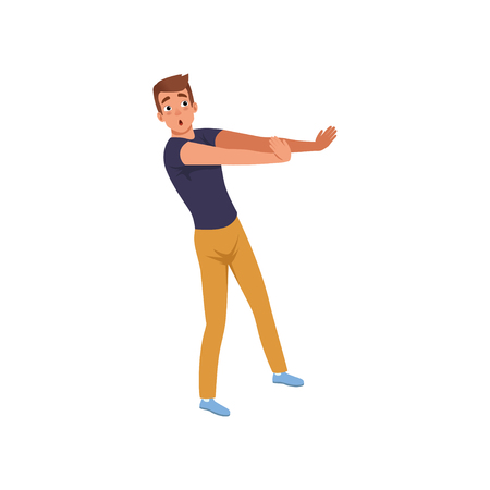 Frightened man trying to defending from something. Young guy with scared face expression. Emotional person. Flat design Ilustração