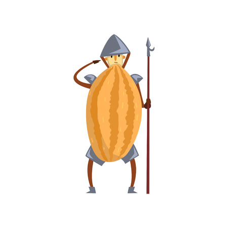 Brave warrior melon cartoon character with spear, man in fruit costume Illustration