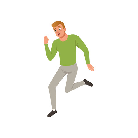 Horrified man running away from something. Young guy with frightened face expression. Flat vector design