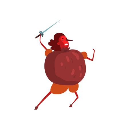 Warlike pomegranate cartoon character with sword, man in fruit costume