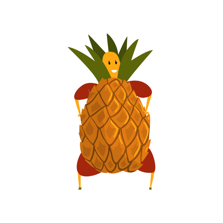 Funny pineapple cartoon character, man in fruit costume