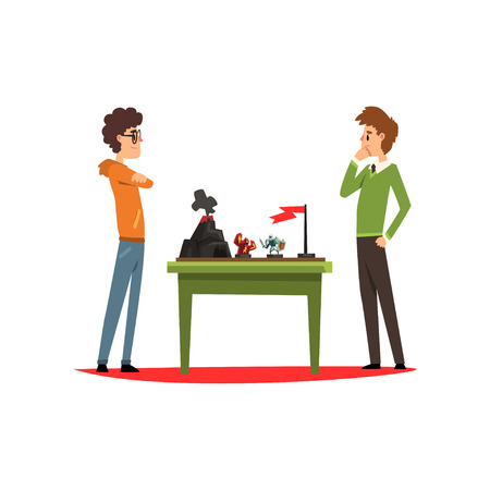 Two friends playing strategic board game Illustration