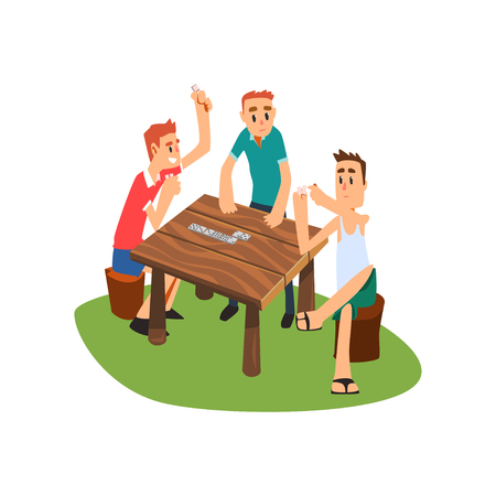Three men playing dominoes outdoors, friends having good time together Illustration