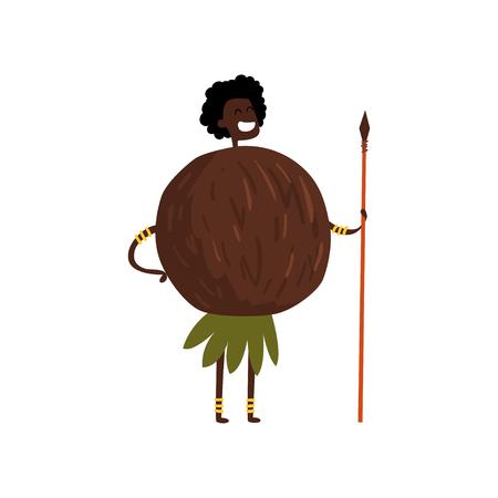 Brave coconut cartoon character with spear, man in fruit costume Illusztráció