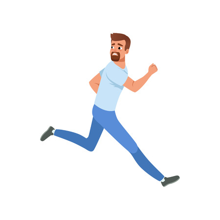 Frightened bearded man running away looking back. Cartoon character of young guy with scared face expression Illustration