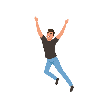 Joyful guy in jumping action with hands up. Young man with happy face expression. Flat design