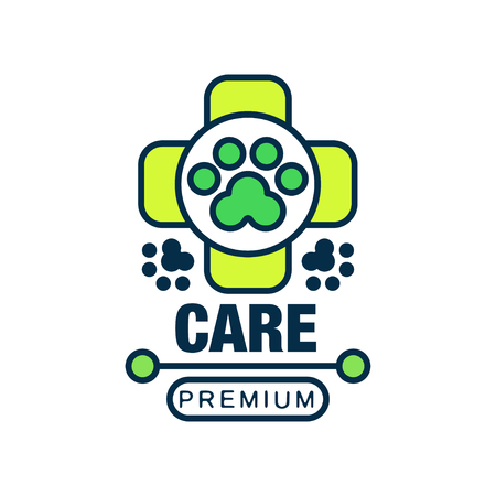 Care premium logo template design, label for veterinary clinic and animal shelter, green badge for company identity Ilustração