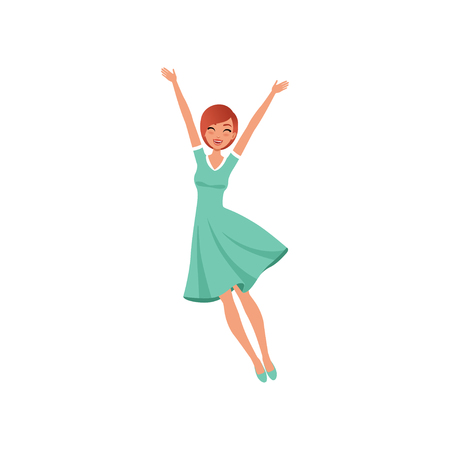 Beautiful woman in jumping action with hands up. Cartoon character of young girl with happy face expression. Flat vector design