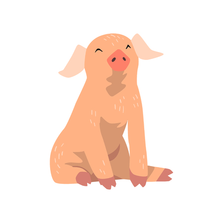 Cute cartoon funny little pig vector Illustration isolated on a white background.