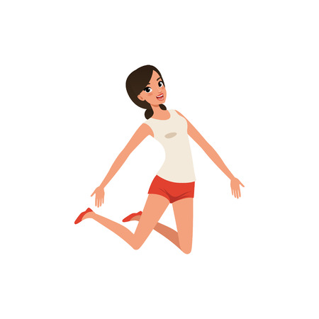 Happy woman in jumping action. Young girl with joyful face expression. Isolated flat vector design Foto de archivo - 101205128