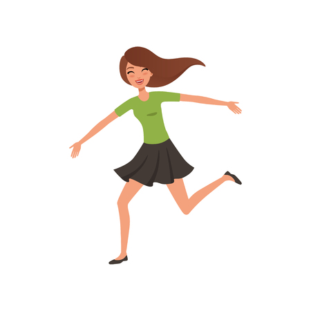 Happy brunette girl running jumping with wide open arms. Young woman with joyful face expression. Flat vector design Illustration