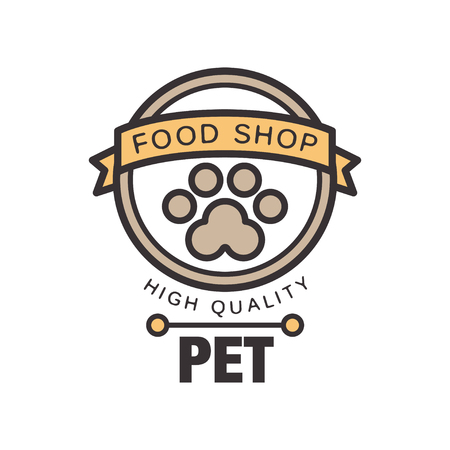 Pet food shop logo template design, brown badge for company identity, label for pet shop, quality service and food vector Illustration isolated on a white background.