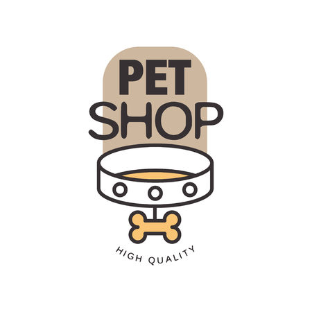 Pet shop logo template design, brown badge for company identity, label for animal store, quality service and food vector Illustration isolated on a white background.