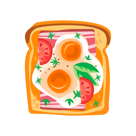 Toasted bread slice with fried eggs, fresh tomatoes, bacon and leaves of basil. Delicious snack for breakfast. Graphic design for menu or recipe book. Colorful flat vector icon isolated on white.