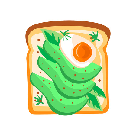 Colorful icon of toasted bread slice with avocado and boiled egg. Healthy and tasty breakfast. Fast food theme. Graphic design for cafe or restaurant menu. Flat vector illustration isolated on white. Иллюстрация