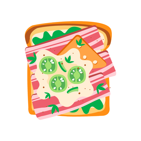 Delicious toasted bread with green salad, mozzarella cheese, bacon and cucumber slices. Tasty sandwich for breakfast. Graphic design for menu or recipe book. Flat vector illustration isolated on white Illustration