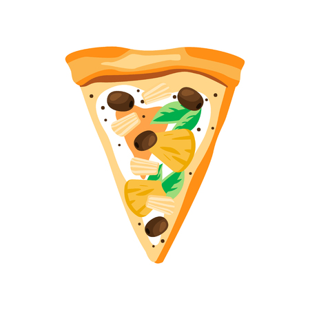 Triangle slice of pizza with pineapples, olives, mozzarella and leaves of basil. Delicious fast food. Flat vector for cafe or pizzeria menu Illustration