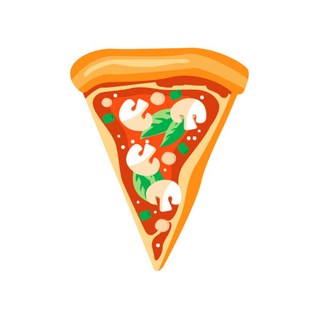 Triangle slice of pizza with mushrooms, basil leaves and ketchup. Fast food. Flat vector element for pizzeria menu or mobile app