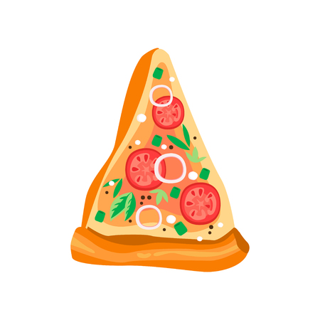 Delicious triangle slice of pizza with tomatoes, onion rings, basil leaves and condiments. Fast food icon. Flat vector element for mobile app or cafe menu