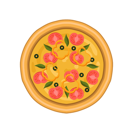 Freshly baked pizza with tomato, basil and olives, top view vector Illustration on a white background