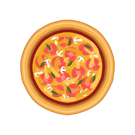 Vegetarian pizza with tomato, mushroom and basil, freshly baked pizza, top view vector Illustration on a white background.
