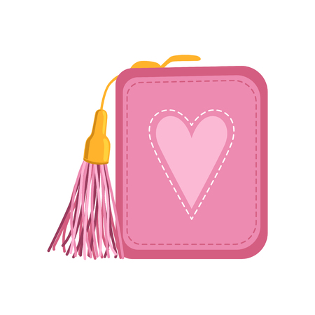 Female pink purse, money and finance vector Illustration isolated on a white background.
