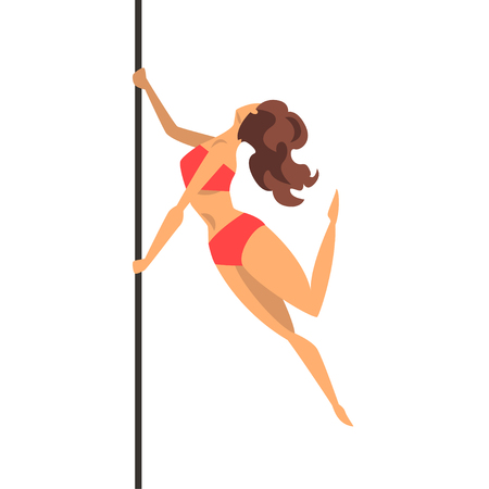 Beautiful girl dancing, dance on the pylon, fitness on the pole vector Illustration on a white background Ilustração