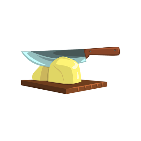 Raw peeled potato on wooden board with knife vector Illustration isolated on a white background.