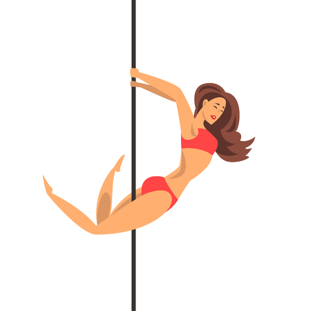 Beautiful girl in red bikini dancing around pole, dance on the pylon vector Illustration on a white background Illustration