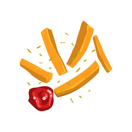 Patatine fritte con spezie e ketchup illustrazione vettoriale isolato su sfondo bianco.