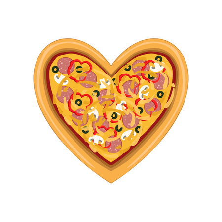 Freshly baked pizza in the shape of heart, top view vector Illustration isolated on a white background