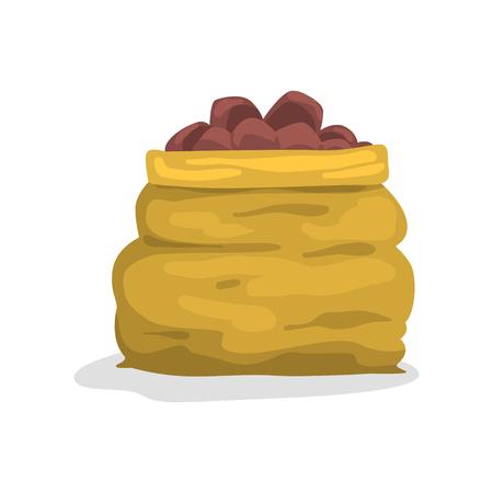 Burlap sack full of ripe potato vector Illustration on a white background