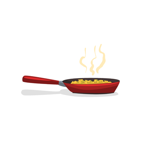 Fried potatoes with spices in a frying pan vector Illustration isolated on a white background. 일러스트