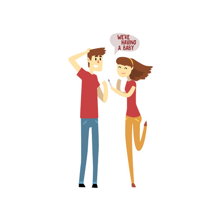 Happy young woman with a positive pregnancy test and her surprised husband cartoon vector Illustration isolated on a white background.