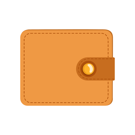 Leather wallet, purse case for money, credit cards or documents, vector Illustration on a white background