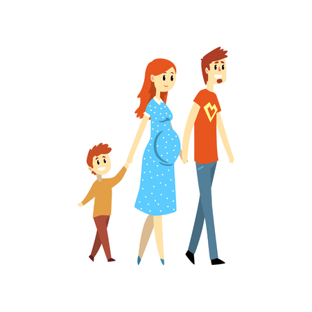 Pregnant family couple and their son cartoon vector Illustration isolated on a white background. Çizim