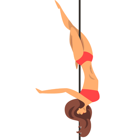 Beautiful pole dancer girl in red bikini, fitness on the pole vector Illustration isolated on a white background.