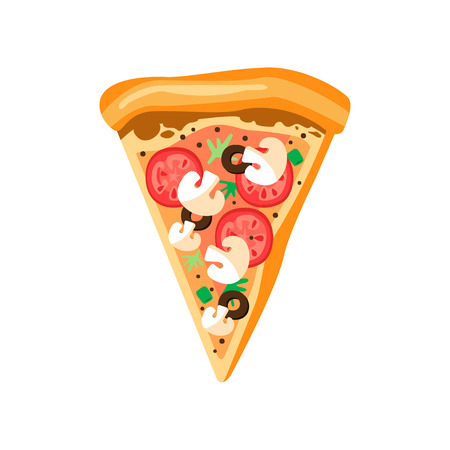 Triangle pizza slice with fresh vegetables and crispy crust. Tasty fast food. Flat vector element for cafe or pizzeria menu 일러스트