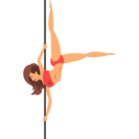 Girl dancing with a pole in red bikini, dance on the pylon vector Illustration isolated on a white background. Stok Fotoğraf - 101290362